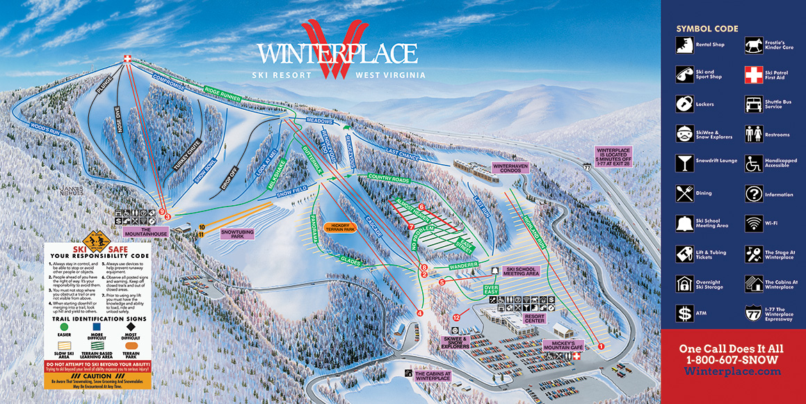 ski resorts virginia map Winterplace Ski Resort Trail Map
